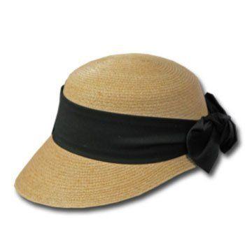 ed1f7b58d2c96 New GOLF VISOR Scoop Panama Straw Hat BLACK BAND WOMENS