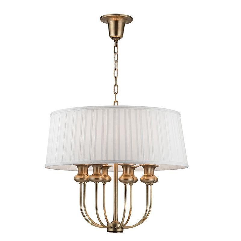 "Hudson Valley Lighting 5408 Pembroke 8 Light 22"" Pendant with White Box Pleated Aged Brass Indoor Lighting Pendants"