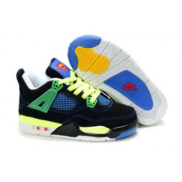 Children Nike Air Jordan 4 Retro Black Green Blue Yellow
