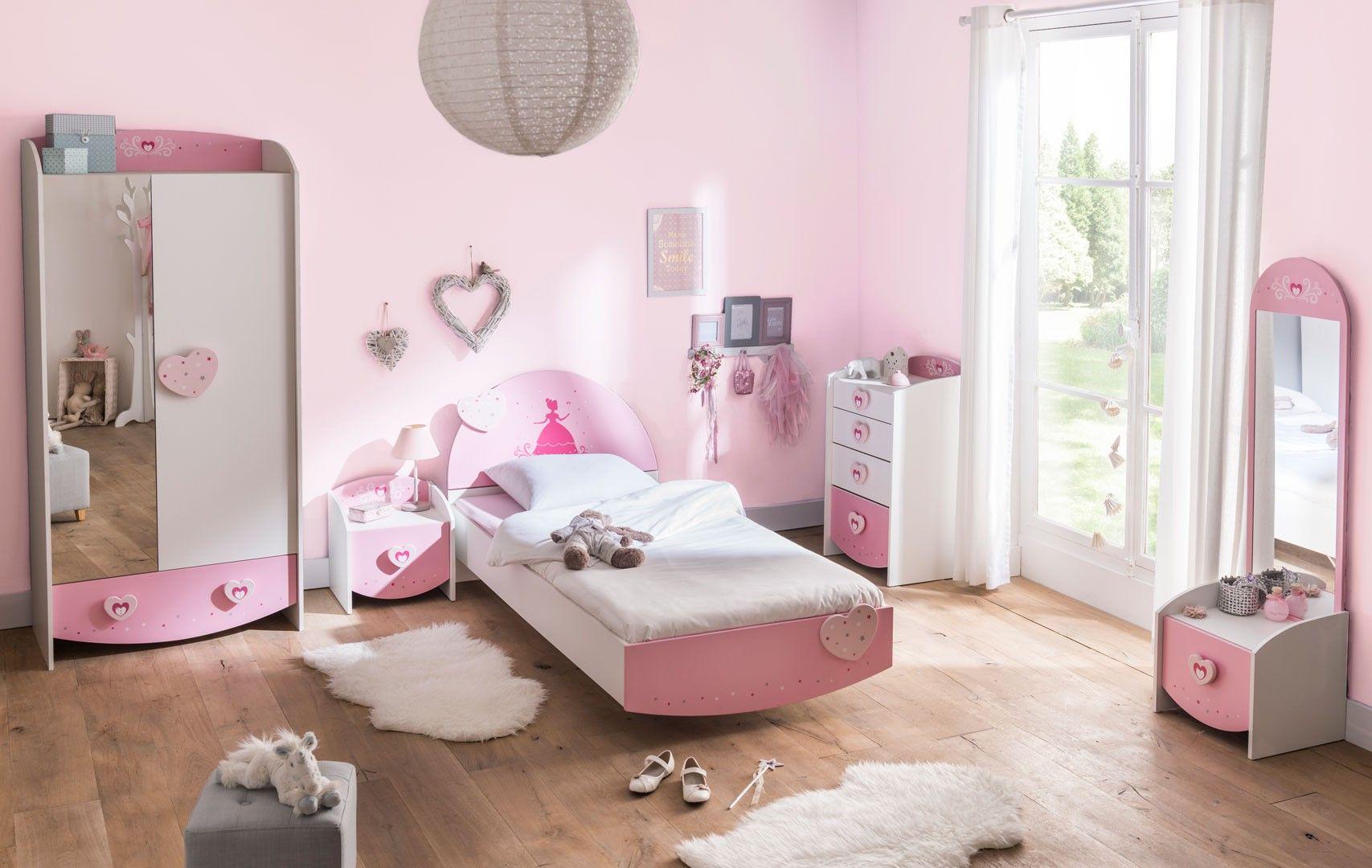 Chambre enfant contemporaine coloris blanc/rose Cecilia