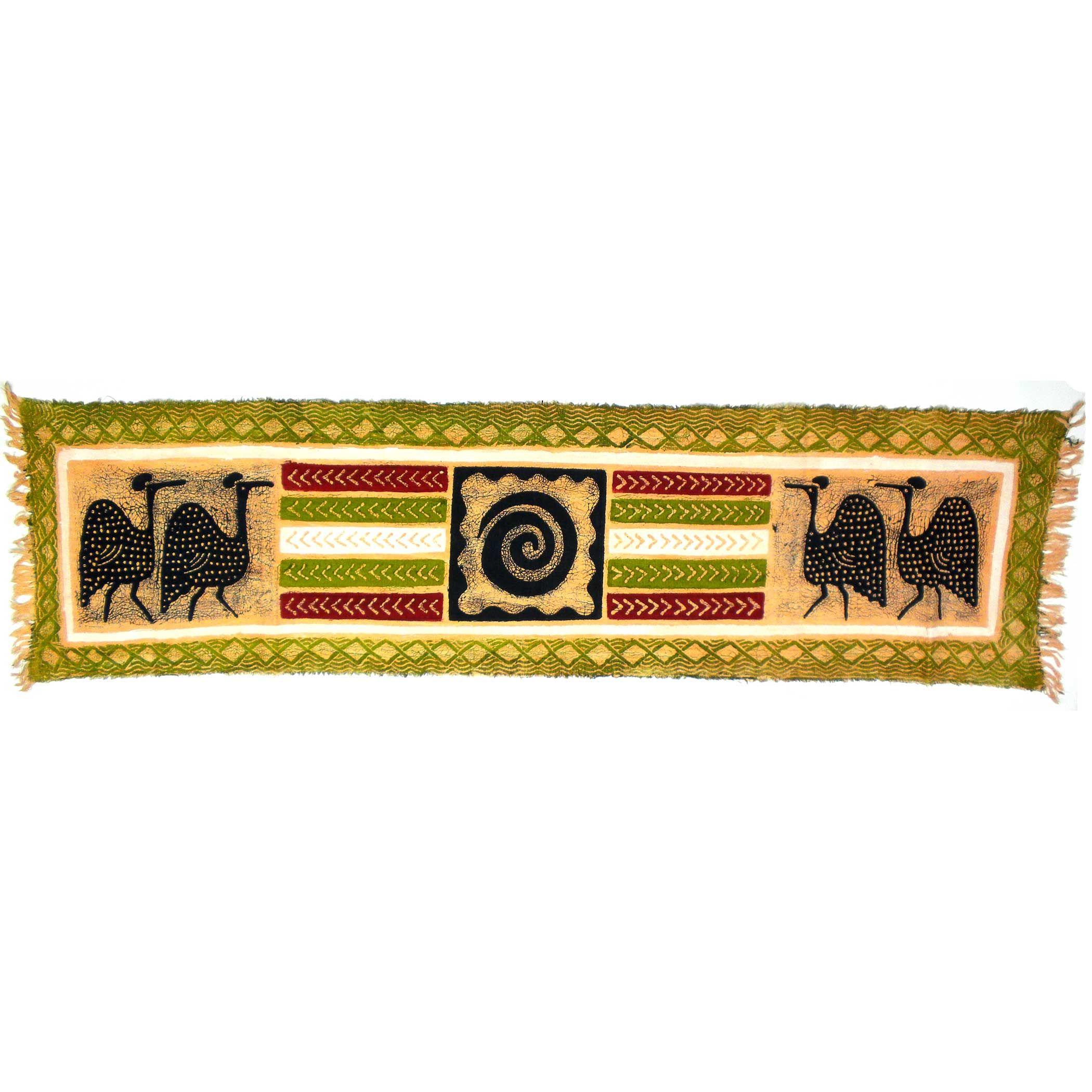 Global Crafts Handpainted Horizontal Green Guinea Fowl Batik ...