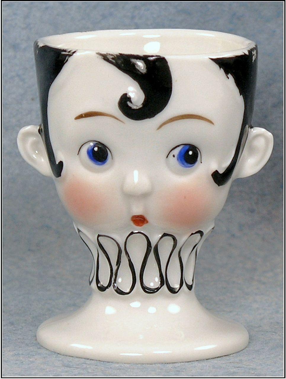 Germany Goebel Porcelain Comical Girl Face Egg Cup C 1923