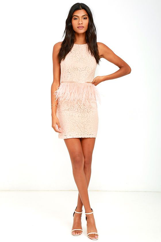 dabb2e1dca09 The Fancy Dance Blush Pink Lace Feather Dress is sophisticated and fun, all  wrapped into one! Lovely lace covers a sleeveless bodice with princess  seams and ...