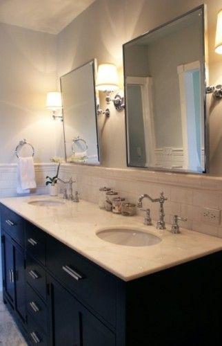 Mirrors Set Above Tile Wainscot Backsplash Faucets Dark Cabinet
