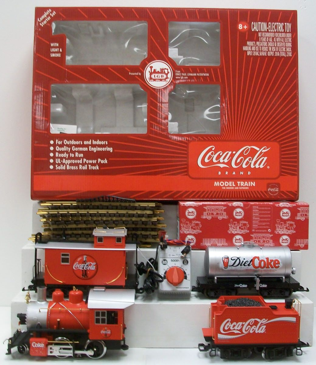 Here is an lgb 72428 g scale coca cola starter train set for New penn motor freight tracking