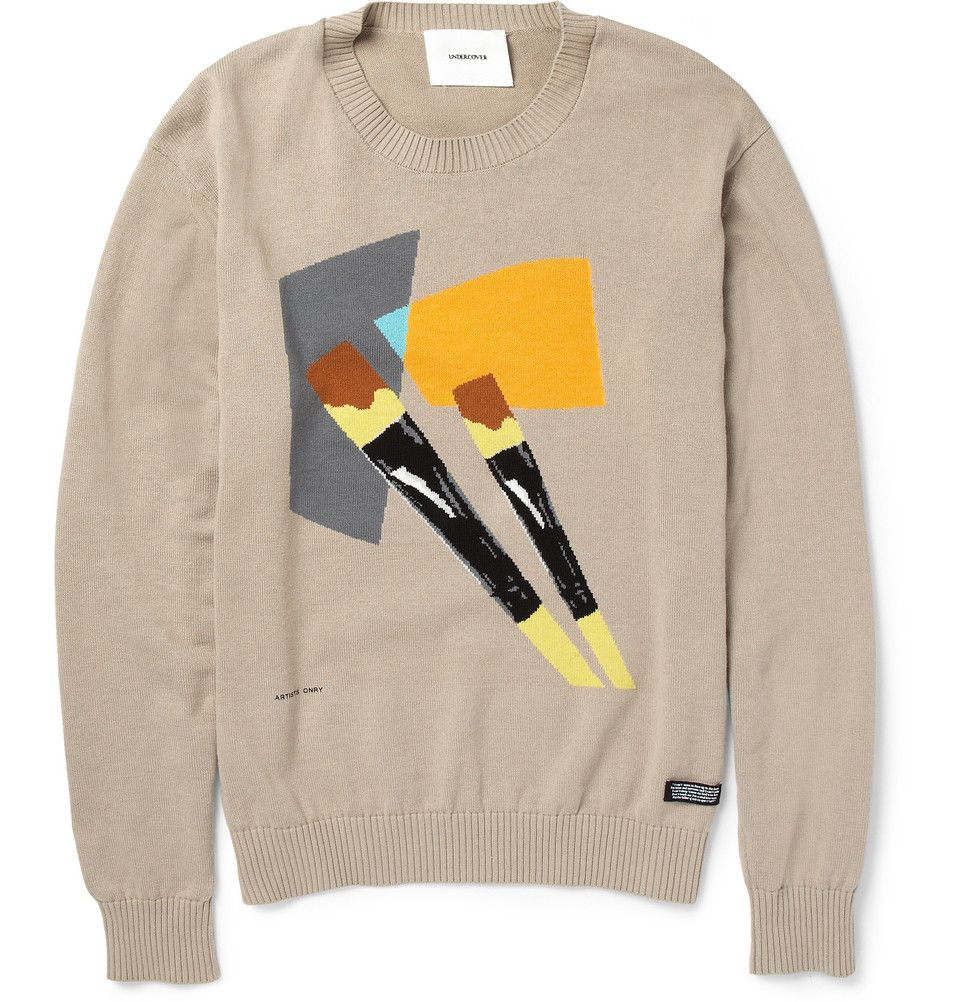 Undercover Paint Brush Intarsia Cotton Sweater | MR PORTER ...