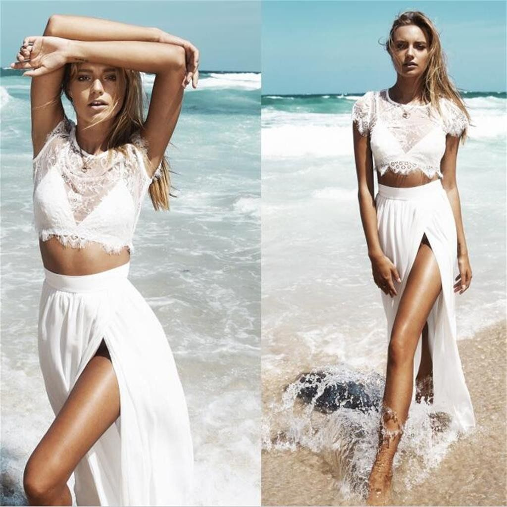 aline long two pieces white simple cap sleeves slit prom dress