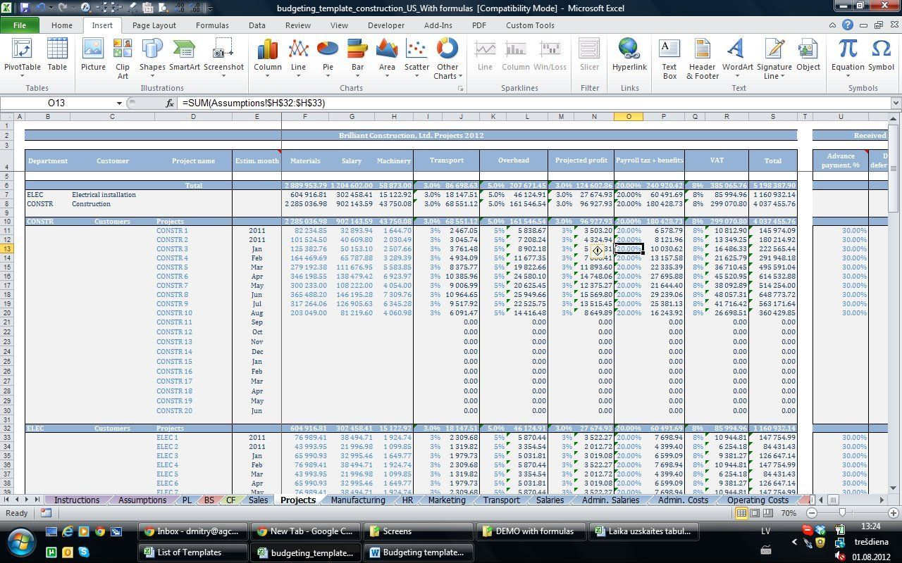 12 Month Business Budget Template For Excel Free Download