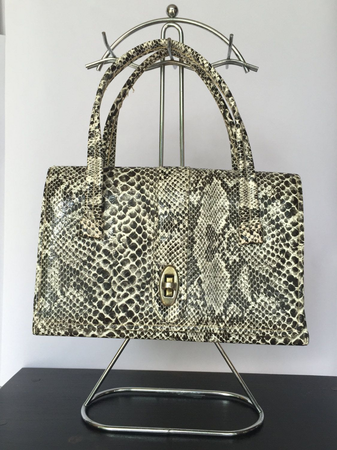 Vintage 1960s Faux Snakeskin Top-Handle Bag/Purse by FunkyFeatherBoutique on Etsy