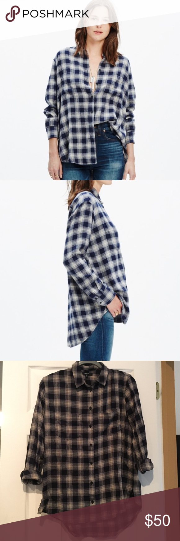 ✨REDUCED Madewell Oversized Boyshirt Andover Plaid So popular and sold out in stores! Worn twice, freshly dry cleaned. An oversized version of our favorite tomboy button-down with a cool slit shirttail hem. An easy shape in a timeless lightweight plaid.    Oversized fit. Cotton. Machine wash. Import. Madewell Tops Button Down Shirts