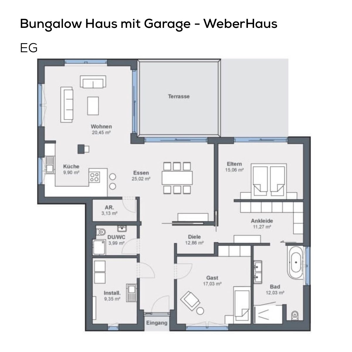 gundriss bungalow haus mit garage pultdach architektur versetzt 3 zimmer 140 qm wfl. Black Bedroom Furniture Sets. Home Design Ideas