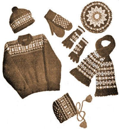 Children Fair Isle Sweater & Accessories Set Vintage Knitting ...