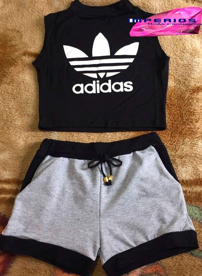 d3db7cac6e5 Conjunto Feminino Cropped Adidas E Shorts Verão 2017 - R  41