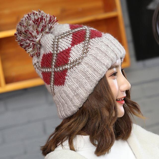 16072b2cf22 2017 New winter hats fashion hair ball caps thick beanie ear warmer gorro  bonnet ladies knitted