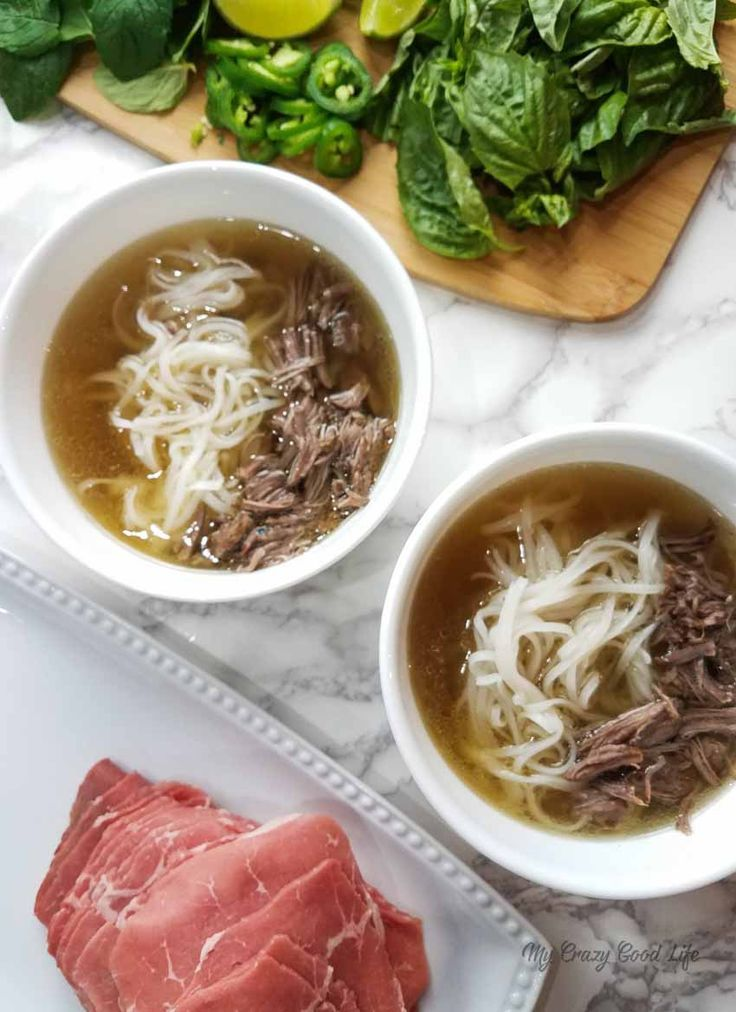 This Instant Pot Beef Pho recipe is delicious, and it's 21 Day Fix friendly! Beautiful spices and savory broth make up this traditional Vietnamese soup.