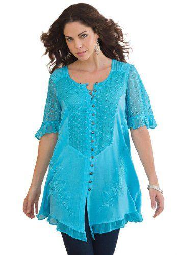 bac63ee5352 Roamans Women s Plus Size The Acid Wash Blouse Denim 24 7 (Paradise Blue