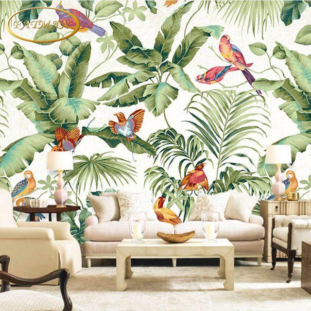 Benutzerdefinierte 3d Fototapete Tropical Garten Blume Vogel Personlichkeit Tapete Wohnzimmer Schlafzimmer T Tapeten Wandbilder Tapete Wohnzimmer Wandbild Wand