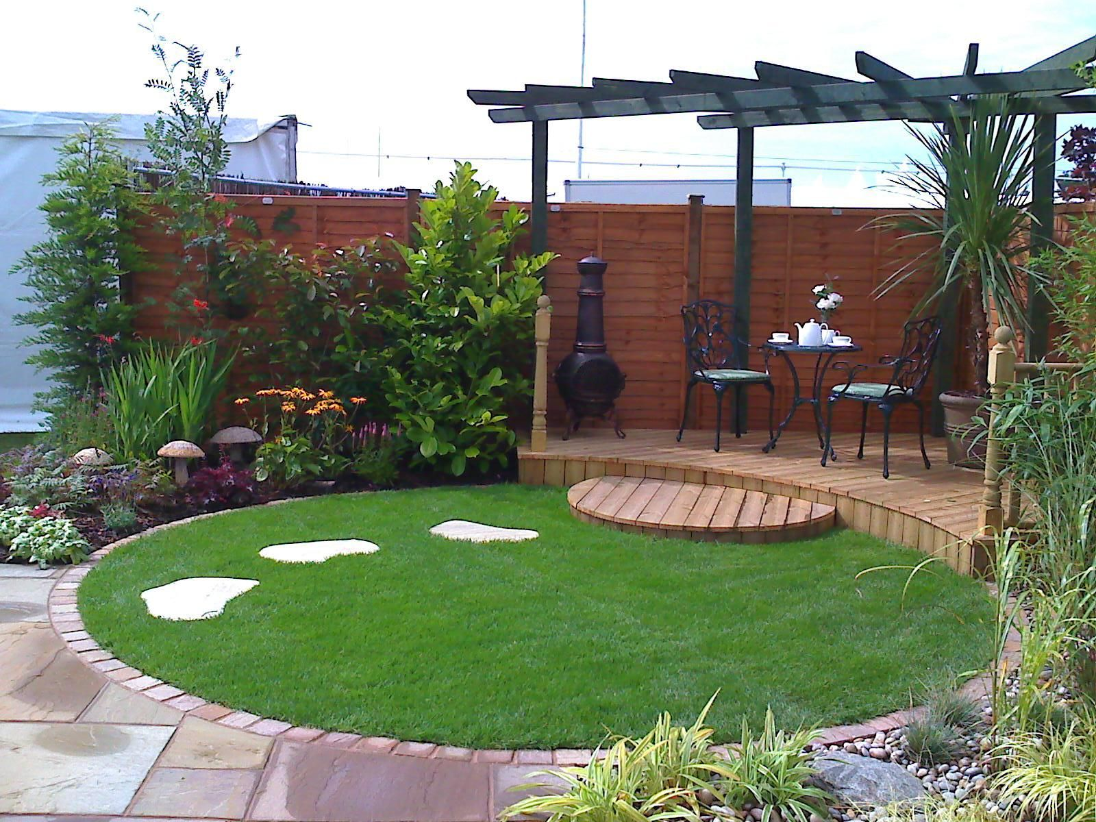 ideas for circular small gardens - Google Search | Back ... on Decking Designs For Small Gardens id=51853