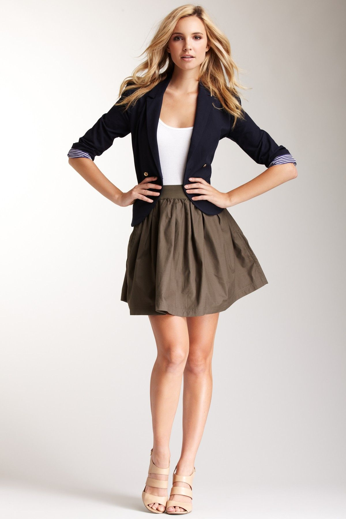 Love the blend of the blazer, simple white tank, and skirt.