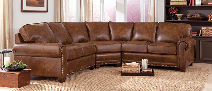 Smith Brothers Of Berne Living Room Brown Leather Sectional