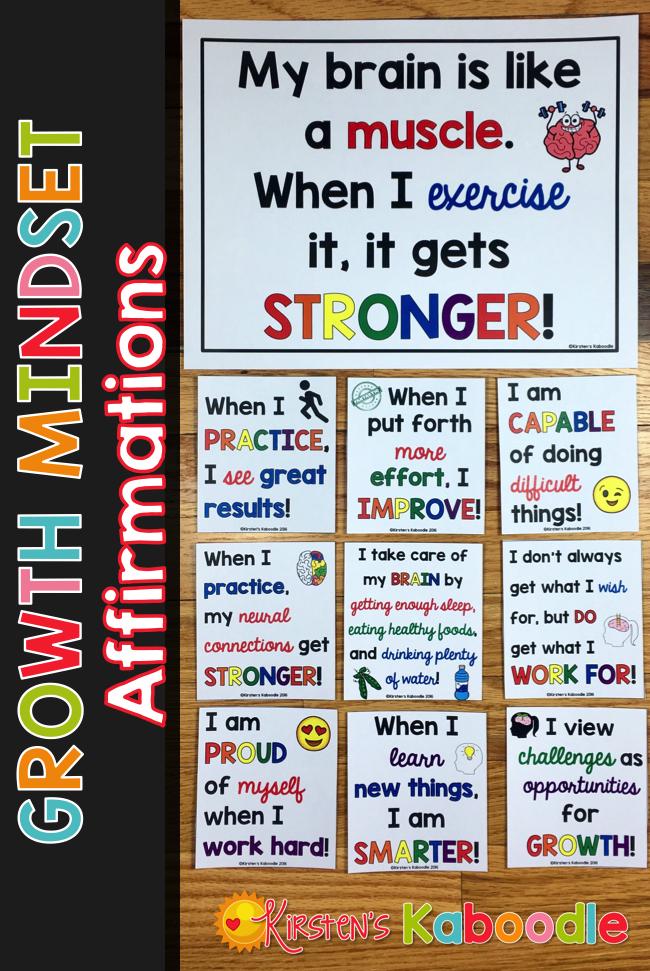Growth Mindset Affirmations Growth Mindset Bulletin Board Growth Mindset Classroom Teaching Growth Mindset