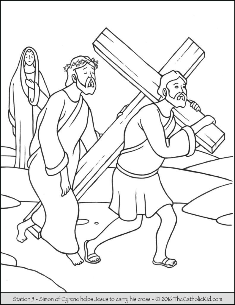 Stations of the Cross Coloring Pages 5 - Simon of Cyrene helps Jesus ...