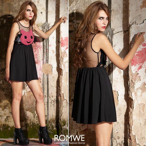 Cartoon Demon Embellished Black Dress