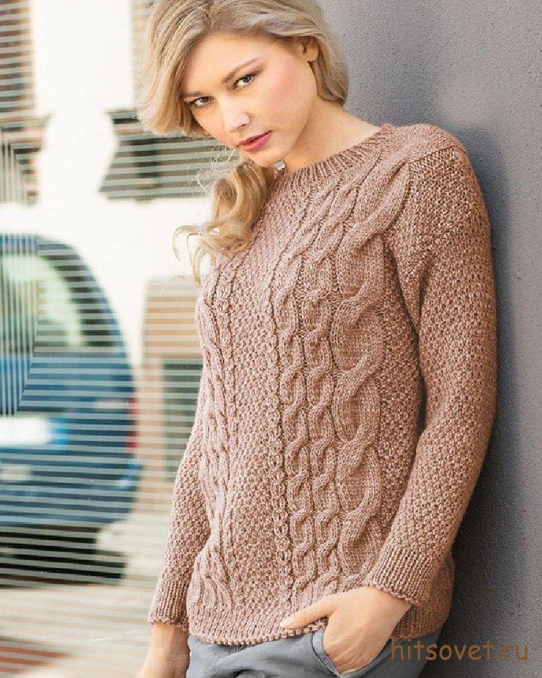 Пуловер спицами женский с косами | Knitting | Pinterest | Cable ...