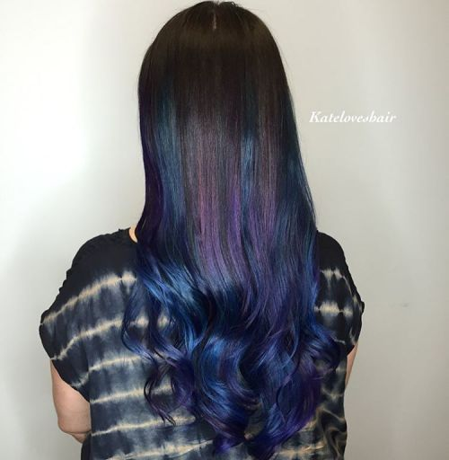 Blue And Grey Straight Hair