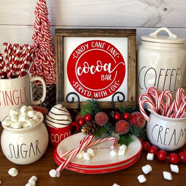 Candy Cane Lane Cocoa Bar Served Warm Daily Wood Sign