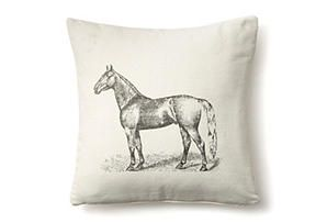 Horse 20x20 Pillow, White