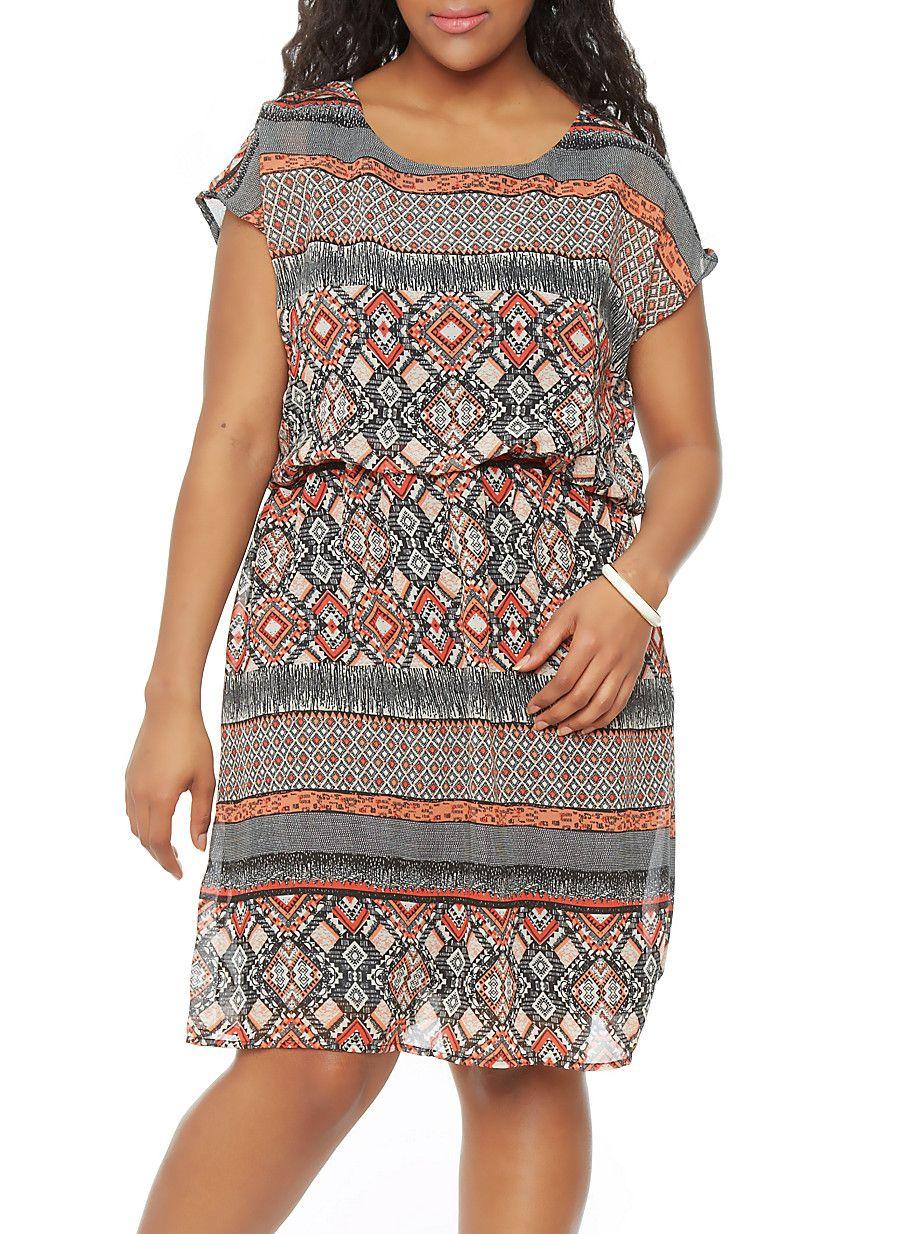 Plus-Size Embellished Printed Dress - Rainbow - 1390068708056