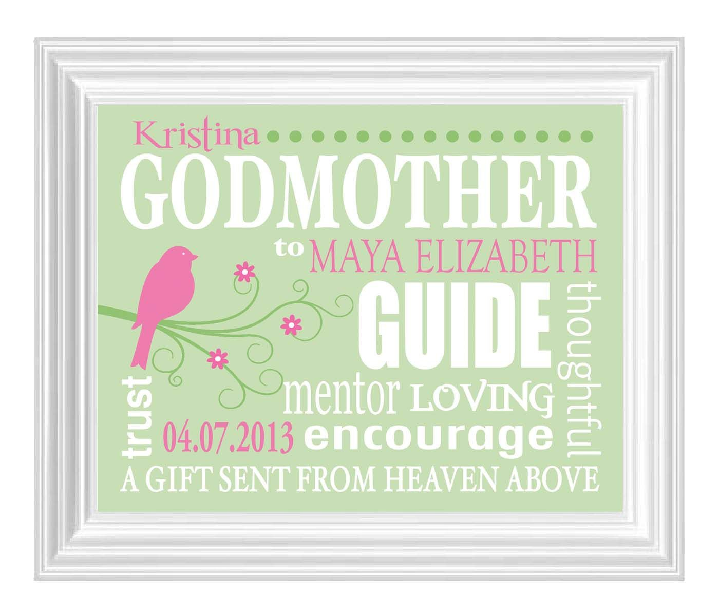Godmother quotes funny quotesgram - Godmother Gift Gift From Godchild Personalized Print For Godmother Name Print Custom Wall