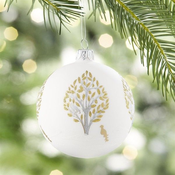 Crate  Barrel Glitter Pear Tree White Ball Ornament (106025 IDR