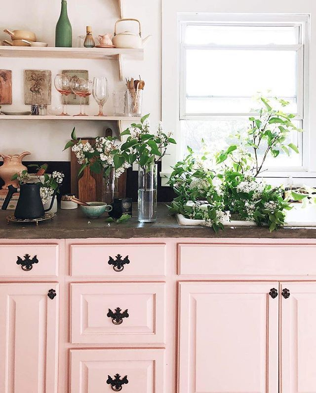 these pink cabinets know the way to my heart by bluegreenpatina watercolorart in dspink on kitchen decor pink id=92815