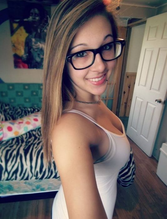 Sexy teen with glasses