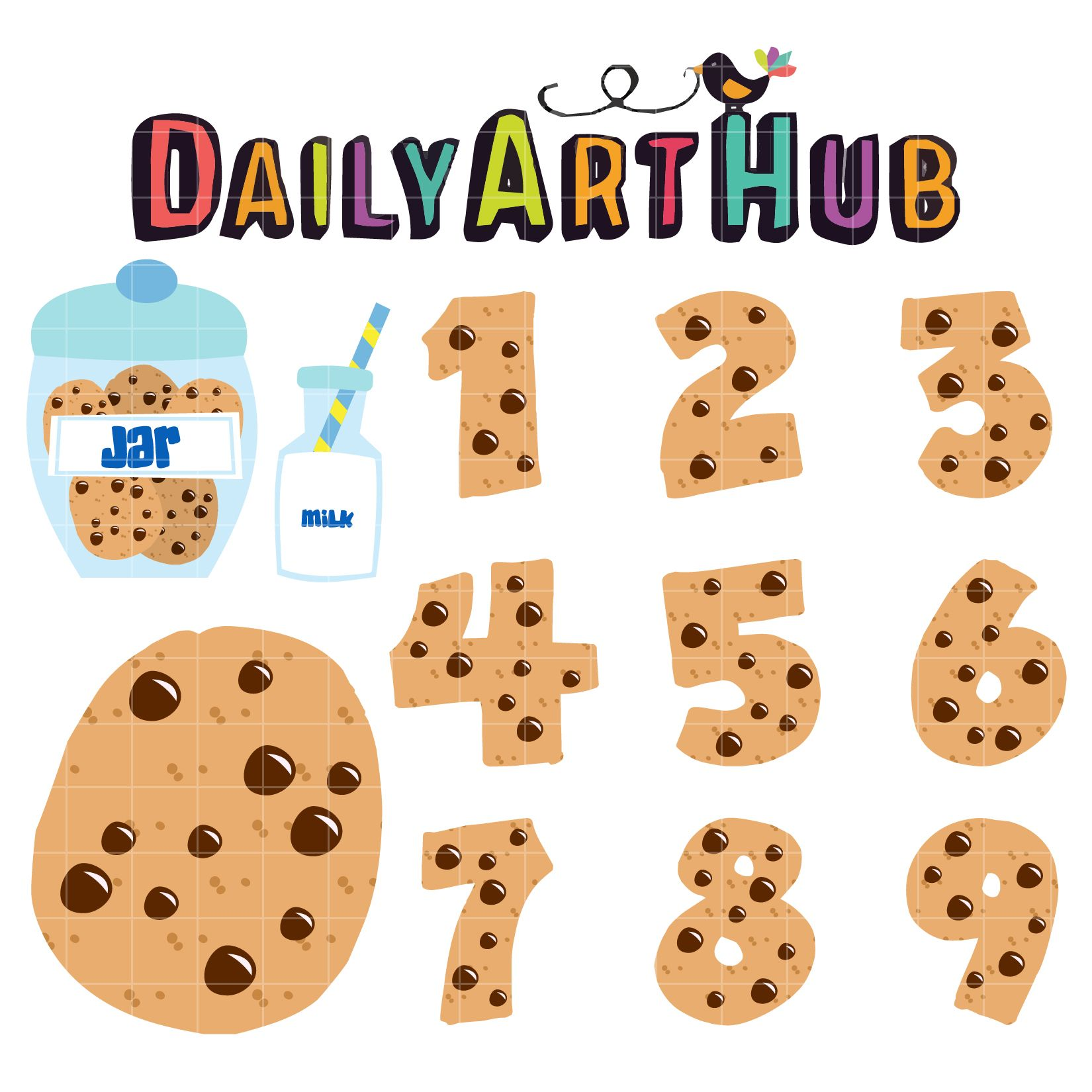 Cookie Numbers Clip Art Set