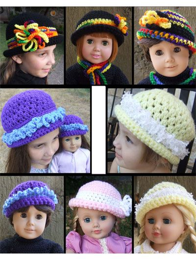 Stitch these matching crochet hats for your little girl and her doll.   This set includes two adorable crochet hat patterns for girls 2–10, plus matching instructions for 18-inch doll hats. The Fiesta hat is comprised of chains and single crochets, making it an easy crochet pattern for beginning crocheters, and the Ice Crystals hat is worked in rounds.   Both hat designs are made using worsted-weight yarn and can be embellished many ways to give the hat different looks.   Available as a PDF ... #dollhats