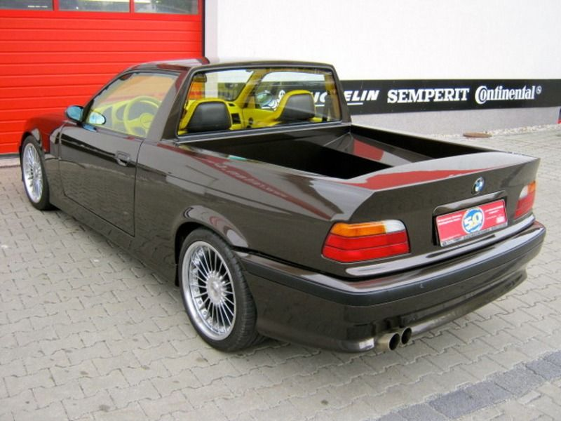 BMW E36 M3 pickup el camino 3 series black with yellow interior