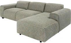 3-Sitzer-Sofa mit Chaiselongue rechts aus Stoff, graublau
