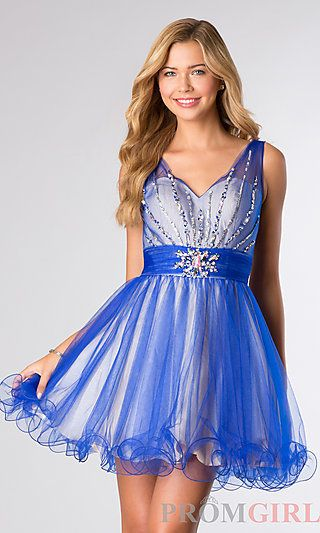 Short Sleeveless V-Neck Dress at PromGirl.com
