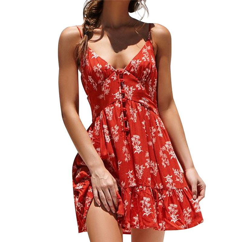 Photo of Gift Day Sumemr Printed Shoulder Straps Button Mini Sexy Dress