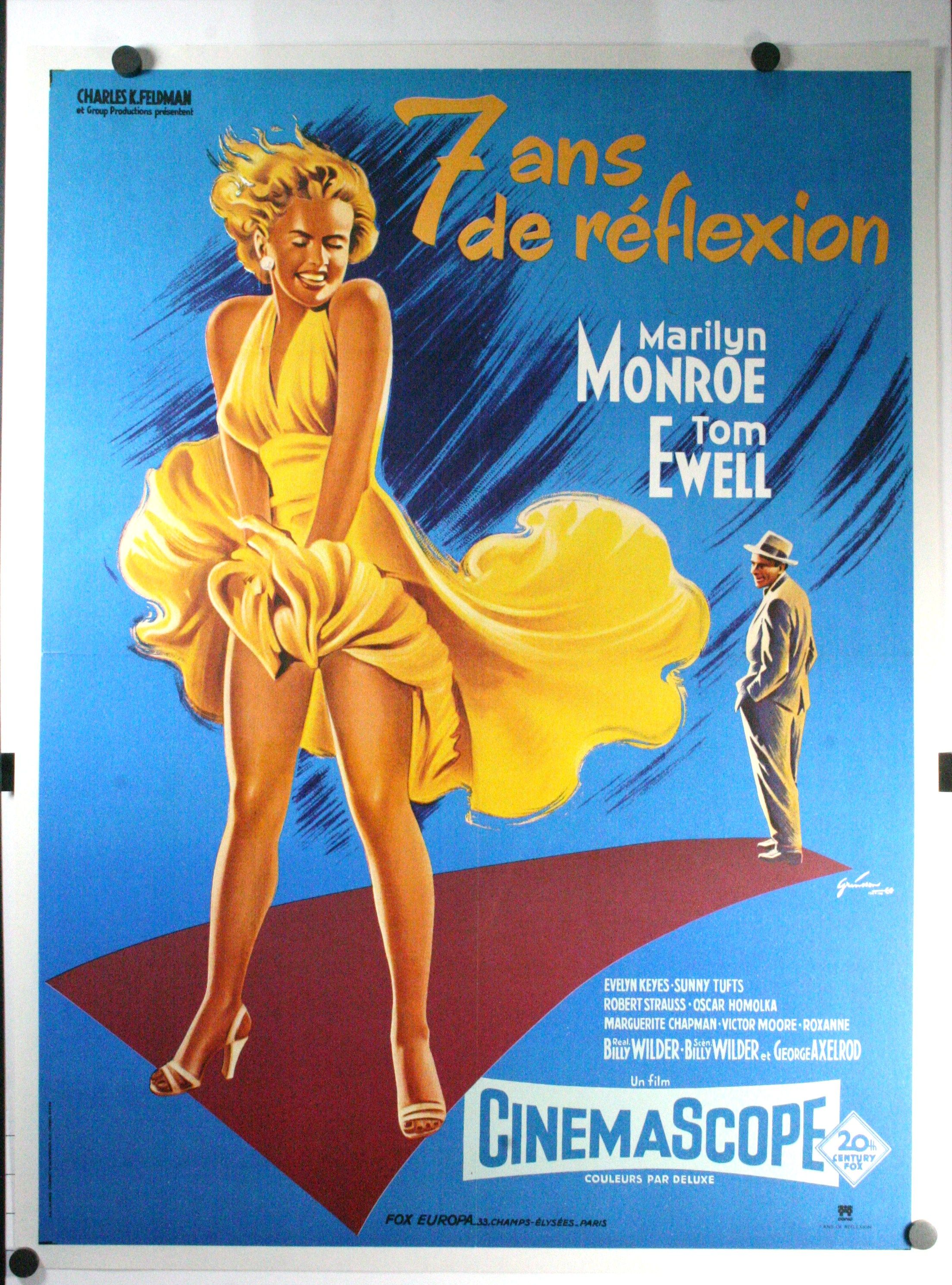 Seven Year Itch Marilyn Monroe French Movie Poster French Movie Posters Marilyn Monroe Movies Movie Posters Vintage