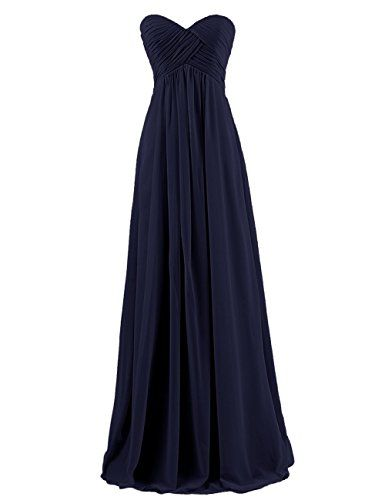 Ouman Sweetheart Bridesmaid Chiffon Prom Dress Long Evening Gown Navy XL