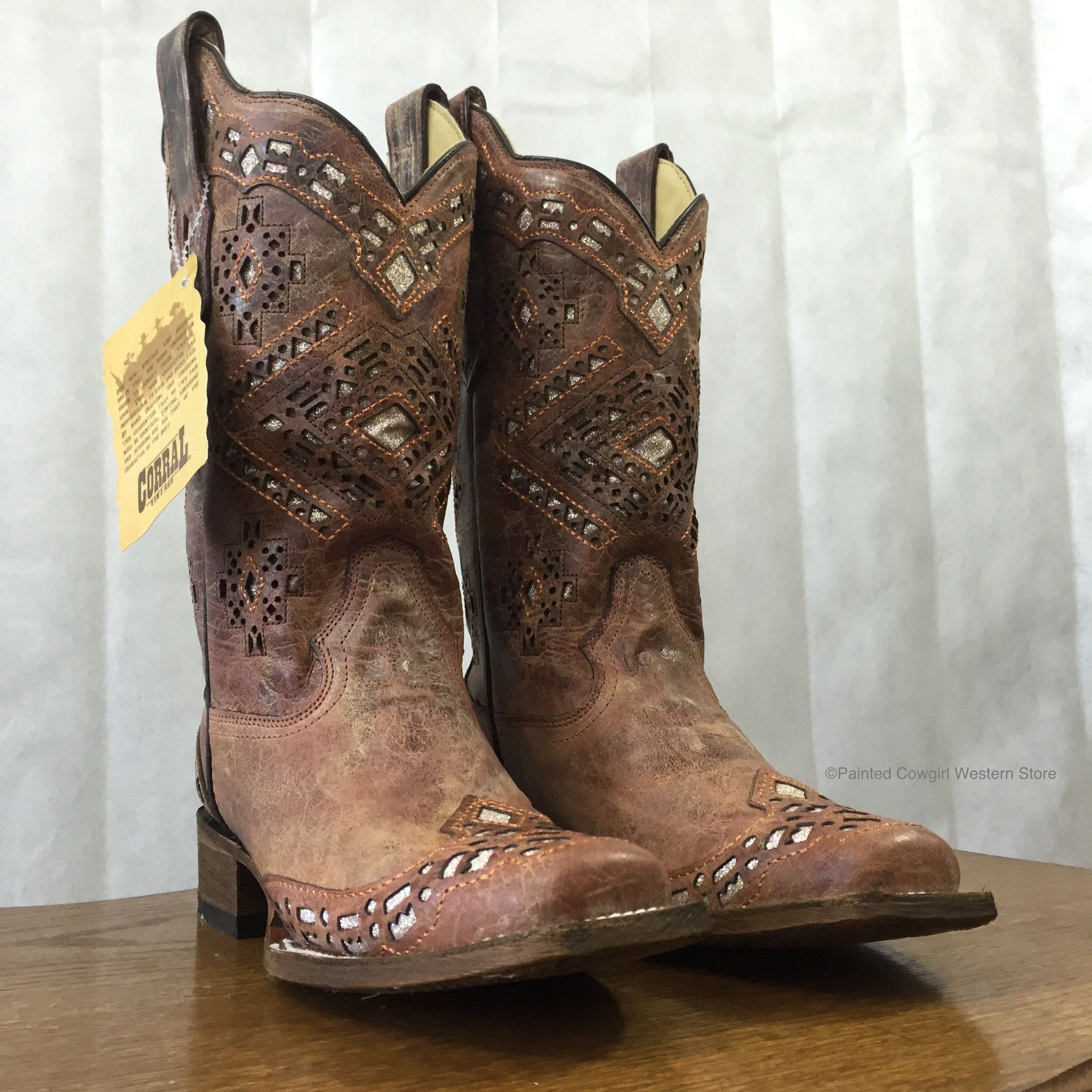 Corral Women S Brown Glitter Square Toe Cowgirl Boots