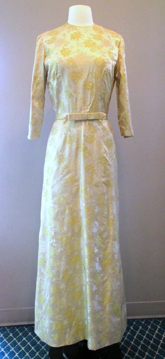 Vintage Gold Brocade Evening Gown by Marsdenfinds on Etsy, $135.00