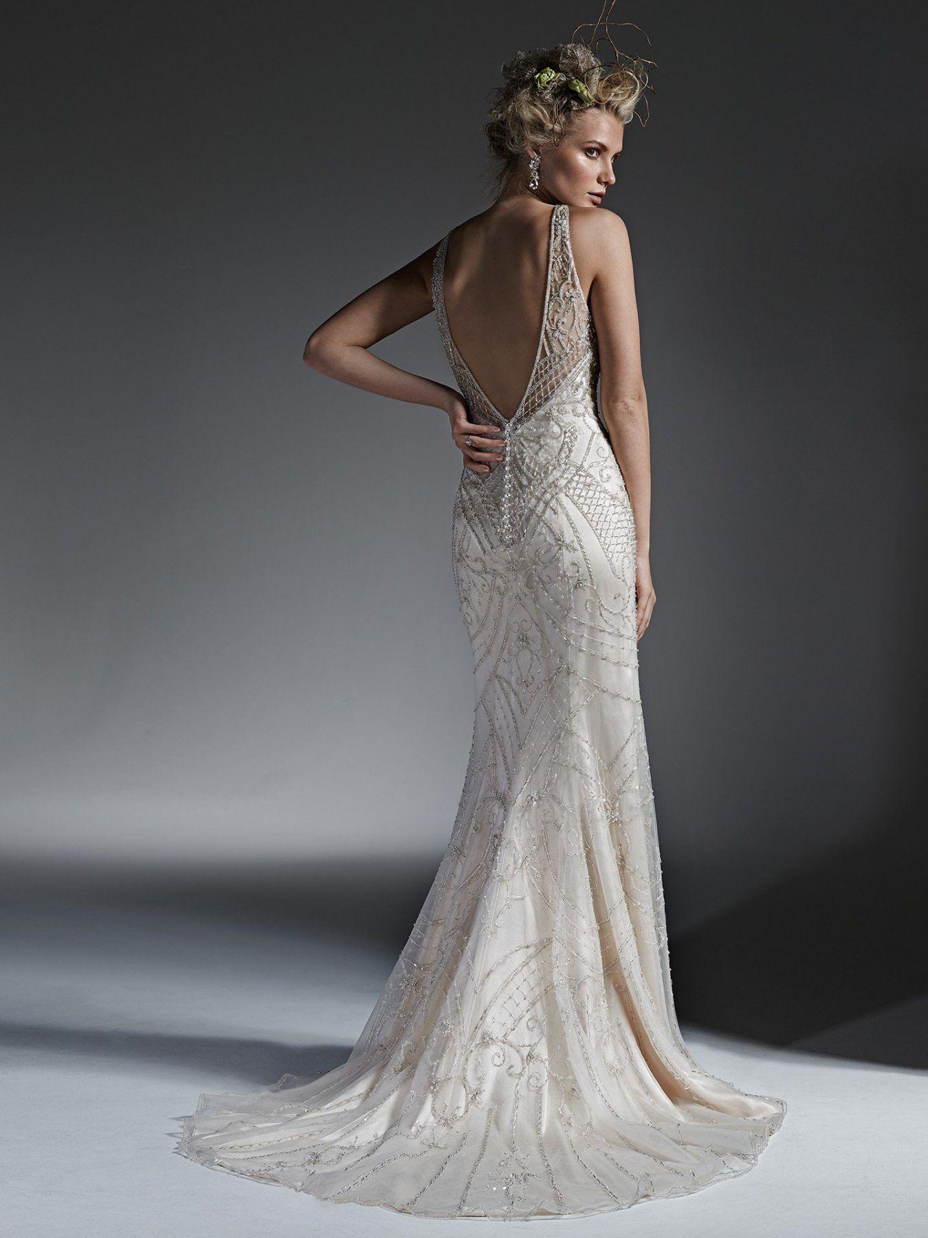 Beaded sheath wedding dress  High Neckline Fully Beaded Sheath Wedding Dress by Maggie Sottero