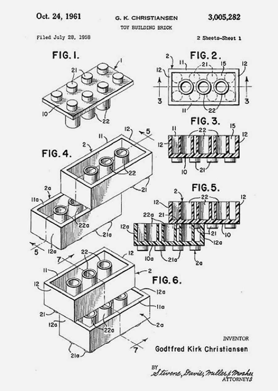 lego brick patent  filed in 1958  by godfred kirk christiansen