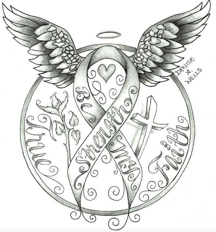 Cancer Ribbon Angel Clip Art