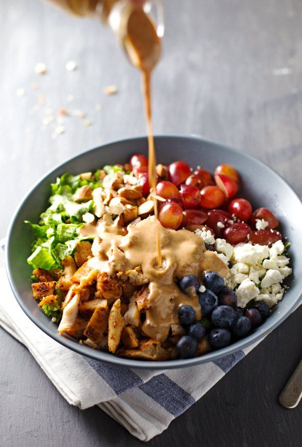 This Rainbow Chicken Salad is topped with the most creamy and delicious homemade Almond Honey Mustard Dressing.